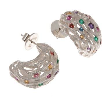 bo.ar.1– Boreal glints, earrings, 950 silver, emerald, ruby, amethyst, citrine, blue topaz, pink tourmaline, garnet
