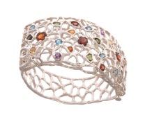 bo.pu.1– Boreal glints, bracelet, 950 silver, garnet, amethyst, blue topaz, citrine, green tourmaline, pink tourmaline