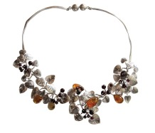 dp.co.2– Leaf litter, necklace, 950 silver, patina, amber, garnet